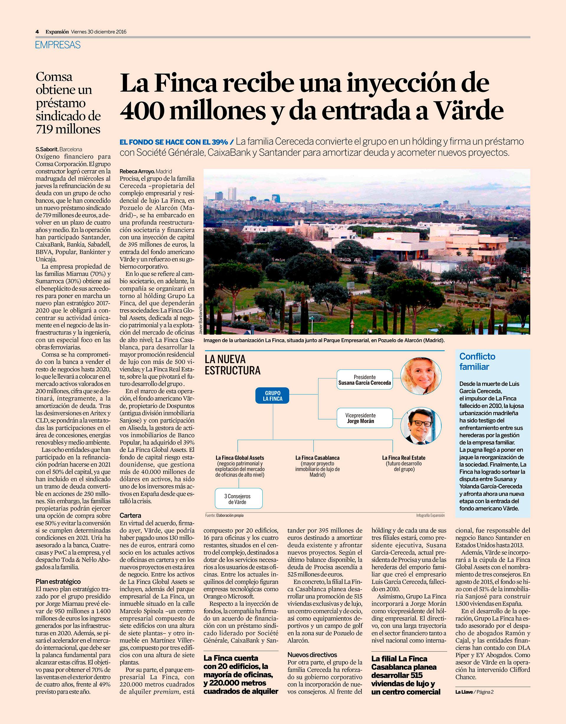 LAFINCA recibe una inyección de 400 millones
